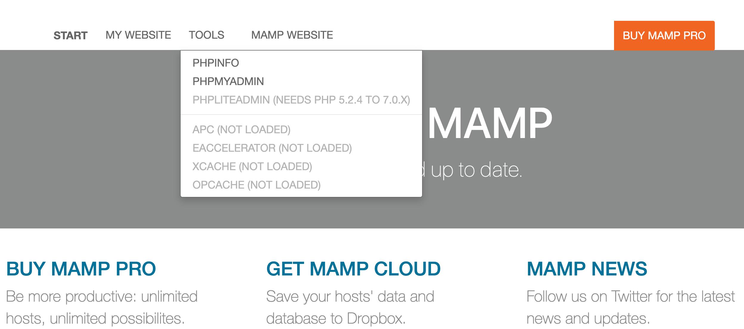 MAMPのデフォルトページ