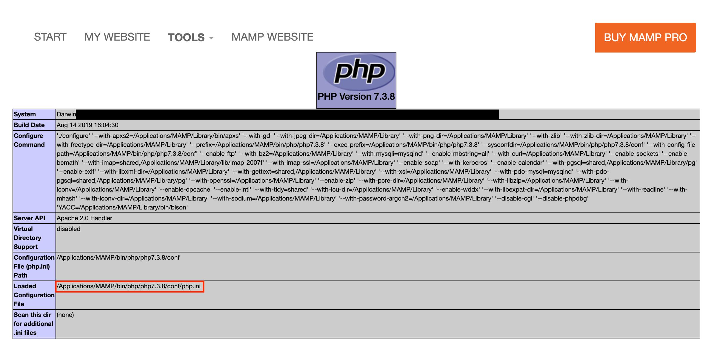 phpInfo画面