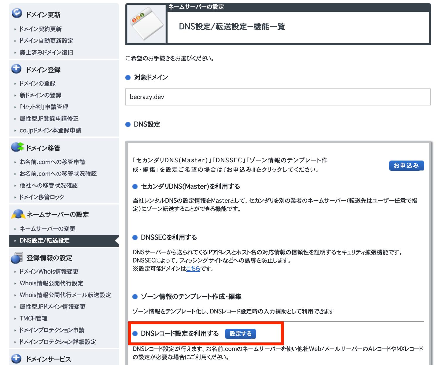 DNSレコード設定ボタン