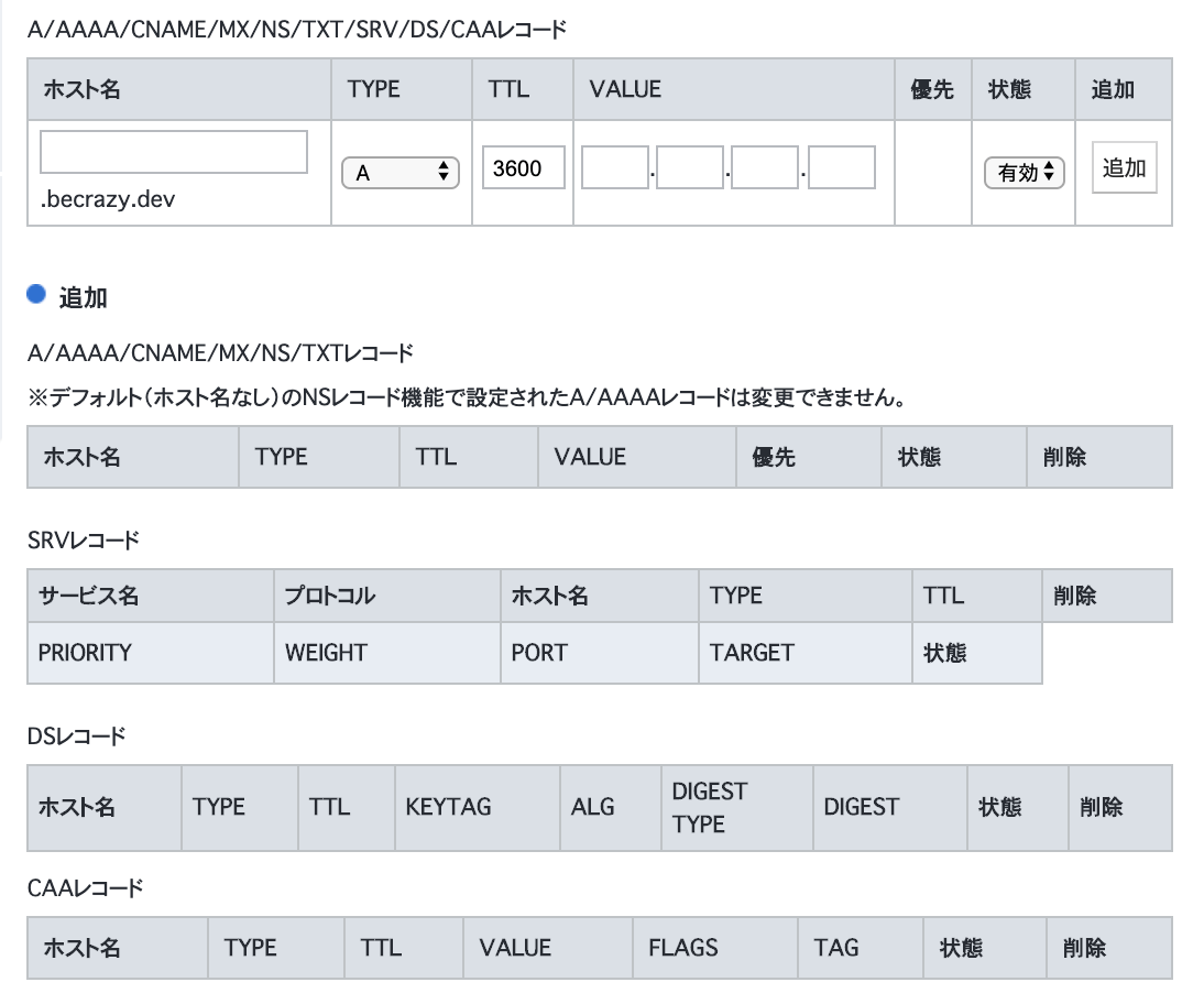 DNSレコードフォーム