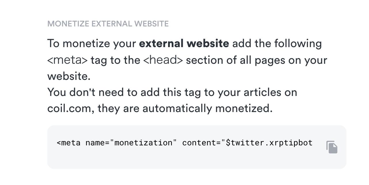 CoilのWeb Monetization用metaタグ